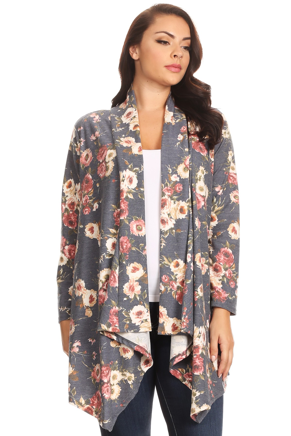 SHAWL OPEN CARDIGAN IN NAVY FLORAL