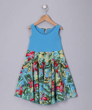 BLUE FLORAL SPINING DRESS