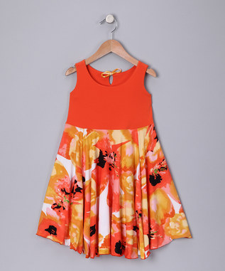 ORANGE ABSTRACT SPINING DRESS