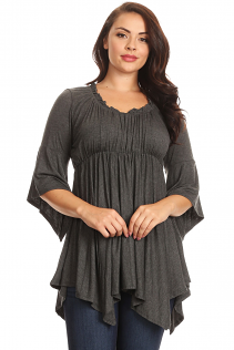 EMPIRE WAIST TOP IN DARK HEATHER GRAY