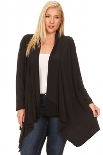 SHAWL OPEN CARDIGAN IN BLACK