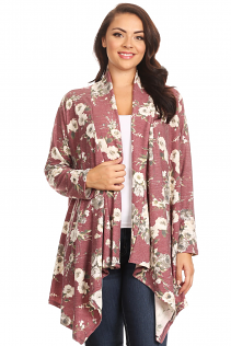SHAWL OPEN CARDIGAN IN BURGUNDY FLORAL
