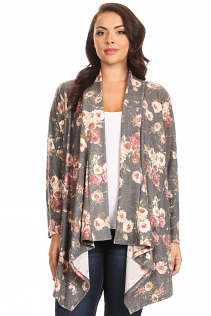 SHAWL OPEN CARDIGAN IN GRAY FLORAL
