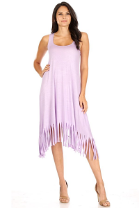 CANARI FRINGE HEM MIDI SLEVELESS DRESS IN LAVENDER