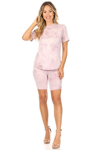 CANARI TEE AND BIKER SHORT SET IN PINK TIEDYE