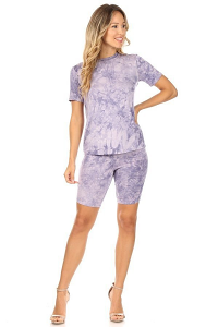 CANARI TEE AND BIKER SHORT SET IN PURPLE TIEDYE