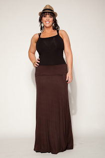 FOLD OVER MAXI SKIRT IN BROWN