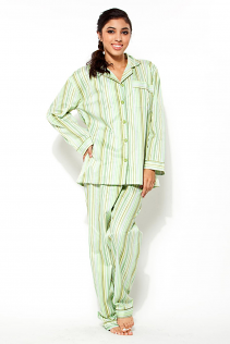 100% COTTON PAJAMAS IN GREEN STRIPES
