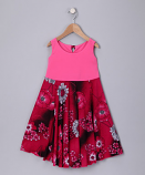 HOT PINK FLORAL SPINING DRESS